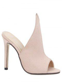 Stiletto Heel Suede Peep Toe Slippers - Apricot 37