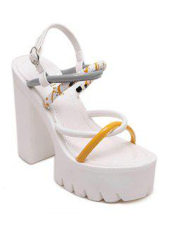 Cross-Strap Color Block Chunky Heel Sandals - White 36