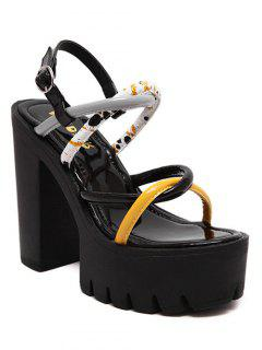 Cross-Strap Color Block Chunky Heel Sandals - Black 36