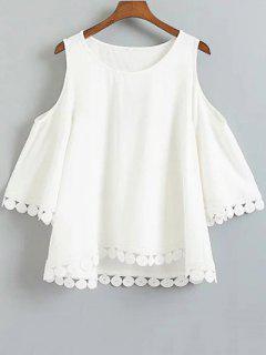 Cuello Redondo De Color Sólido Con Hombros De La Camiseta - Blanco Xl