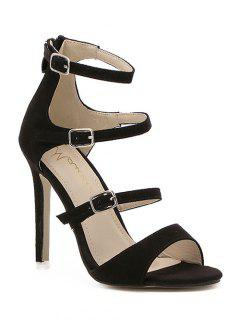 Stiletto Heel Buckles Black Sandals - Black 36