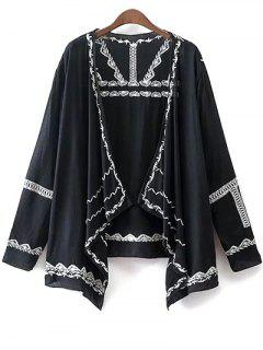 Long Sleeve Embroidery Kimono Blouse - Black M