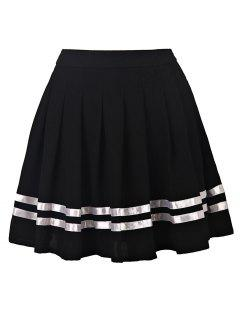 Pleated High Waisted Skirt - Black S