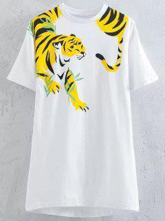 La Impresión Del Tigre De La Manga Corta Cuello Redondo Camiseta - Blanco S