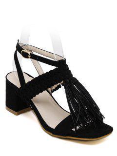 Tassels Weaving Chunky Heel Sandals - Black 36