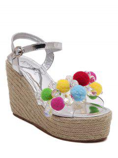 Pompon Weaving Wedge Heel Sandals - Silver 36
