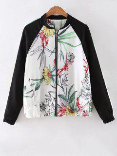 Floral Print Stand Collar Baseball Jacket - White S