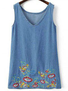 Floral Embroidery V Neck Denim Sundress - Light Blue S