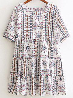 Geometric Pattern Square Neck Half Sleeve Dress - White