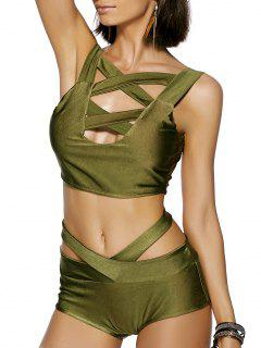 Solid Color Cut Out Straps Bikini Set - Army Green S