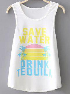 Colored Letter Print Tank Top - White S