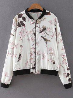 Bird Print Stand Neck Long Sleeves Jacket - White S