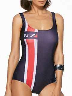 Stripes Lettre Imprimer U Neck One Piece Maillots De Bain - Noir S