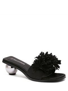 Strange Heel Solid Color Fringe Slippers - Black 36