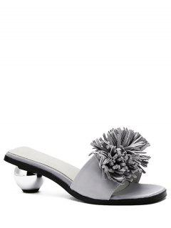Strange Heel Solid Color Fringe Slippers - Gray 36