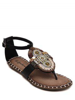 Tribal Pattern Beading Flat Heel Sandals - Black 36