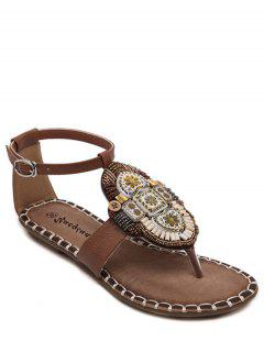 Tribal Pattern Beading Flat Heel Sandals - Brown 36