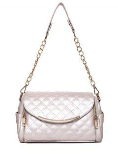 Checked Zips Chains Shoulder Bag - Off-white