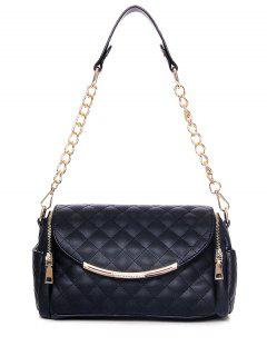 Checked Zips Chains Shoulder Bag - Black