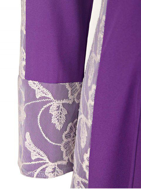 buy Long Sleeve Lace Panel Prom Dress - PURPLE S Mobile