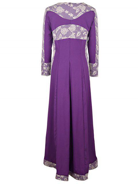 women Long Sleeve Lace Panel Prom Dress - PURPLE L Mobile