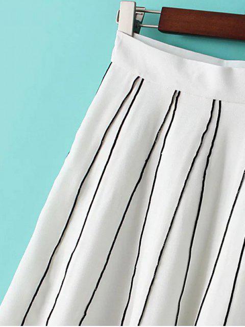 shop A Line Stripes Skirt - WHITE L Mobile