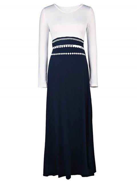 ladies White and Black Long Sleeve Maxi Dress - WHITE M Mobile