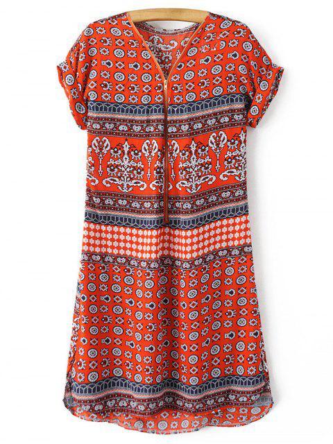 V-Ausschnitt Drucken kurzärmelige Kleid - Roter Zirkon L Mobile