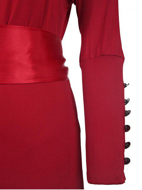 womens Solid Color Cut Out 3/4 Sleeves Sashes Maxi Dress - CLARET L Mobile