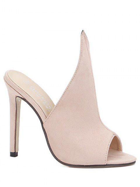 sale Stiletto Heel Suede Peep Toe Slippers - APRICOT 37 Mobile