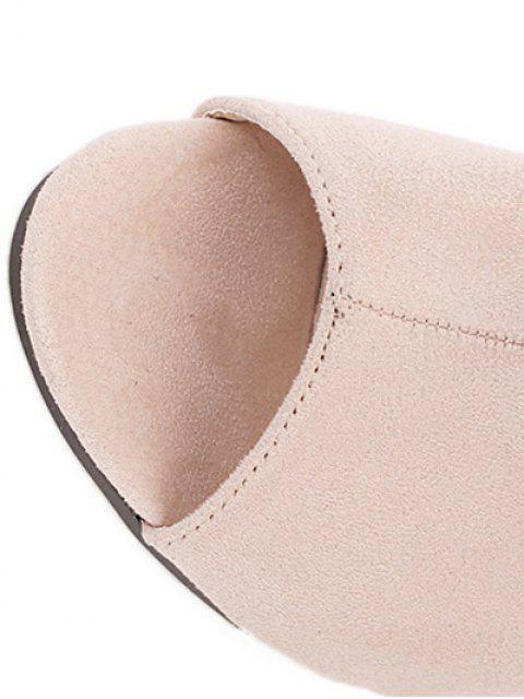 sale Stiletto Heel Suede Peep Toe Slippers - APRICOT 37 Mobile