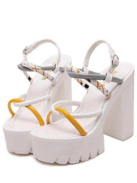 lady Cross-Strap Color Block Chunky Heel Sandals - WHITE 38 Mobile