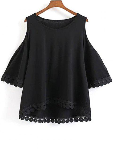 women's Round Neck Solid Color Cold Shoulder T-Shirt - BLACK L Mobile