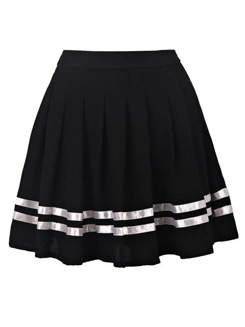 womens Pleated High Waisted Skirt - BLACK S Mobile