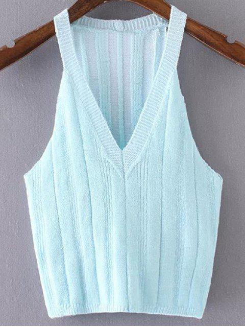 buy Pure Color Plunging Neck Knit Tank Top - AZURE M Mobile
