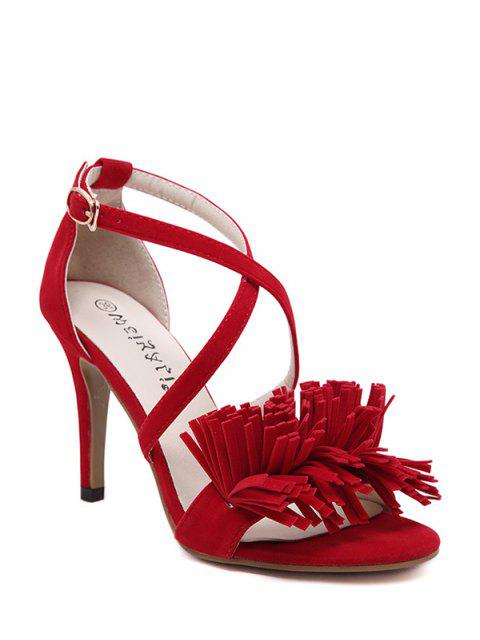 unique Fringe Cross-Strap Stiletto Heel Sandals - RED 36 Mobile