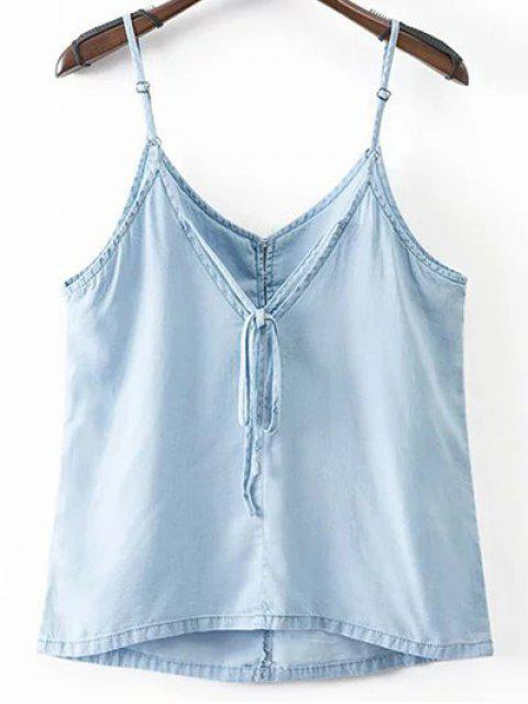 chic Solid Color Spaghetti Straps Chambray Tank Top - LIGHT BLUE S Mobile