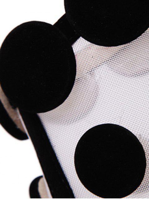 womens Gauze Polka Dot Peep Toe Shoes - BLACK 38 Mobile