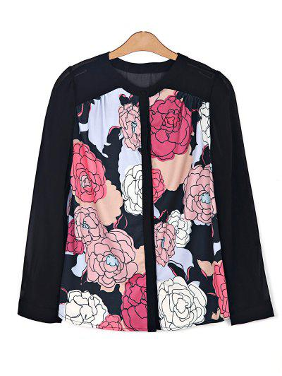 Floral Print Chiffon Spliced Shirt - Black 2xl