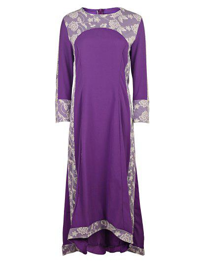 Long Sleeve Lace Panel Prom Dress - Purple S