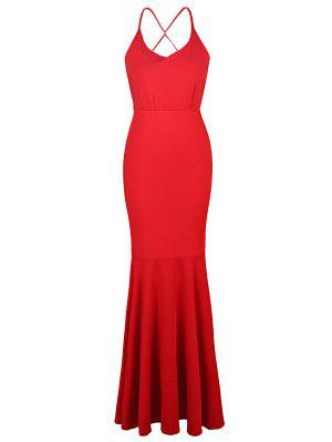 Red Cami Backless Maxi Dress - Red M