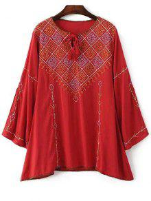 Long Sleeve Embroidery Round Neck T-Shirt - Red M