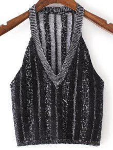 Buy Pure Color Plunging Neck Knit Tank Top - BLACK M