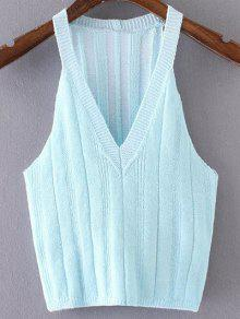 Pure Color Plunging Neck Knit Tank Top - Azure S