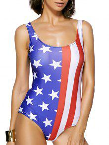 Stripes Star Print Round Neck One Piece Swimwear - Red And White And Blue L