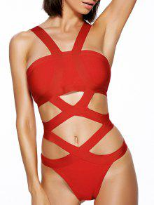 Solid Color Cut Out Straps One-Piece Swimwear - Red M