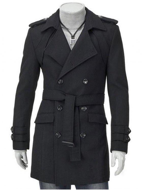 fashion Turn-Down Collar Epaulet Design Double Breasted Long Sleeve Woolen coat For Men - BLACK M