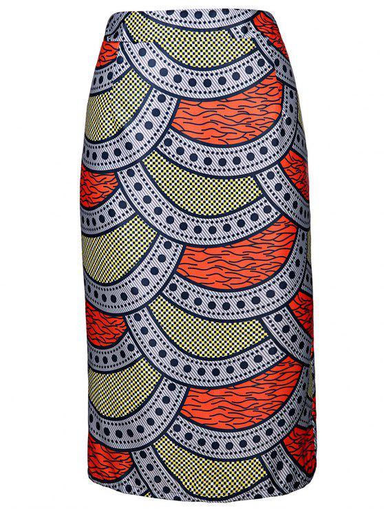 High-Waisted Printed Pencil Skirt - Colormix L