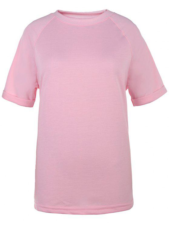 sale Short Sleeve Solid Color T-Shirt - PINK XL
