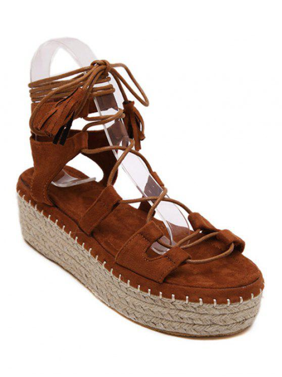 women's Weaving Platform Lace-Up Sandals - BROWN 39